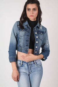 Shred Detail Crop Denim Jacket in Light Denim MODEL FRONT