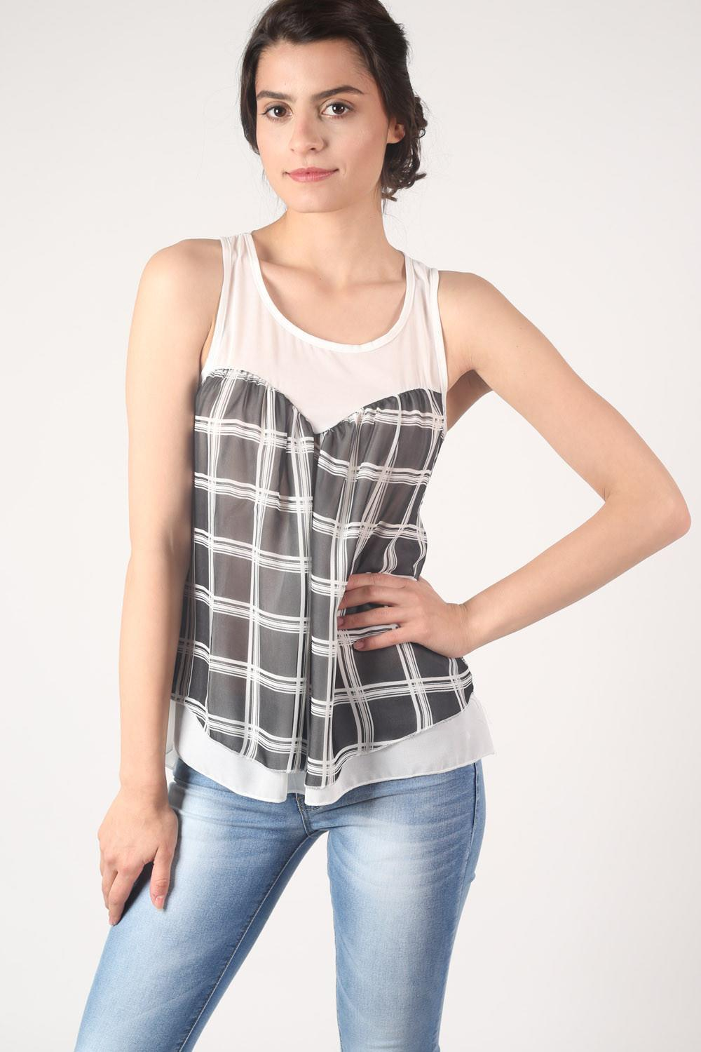 Check Print Sleeveless Top in White MODEL FRONT