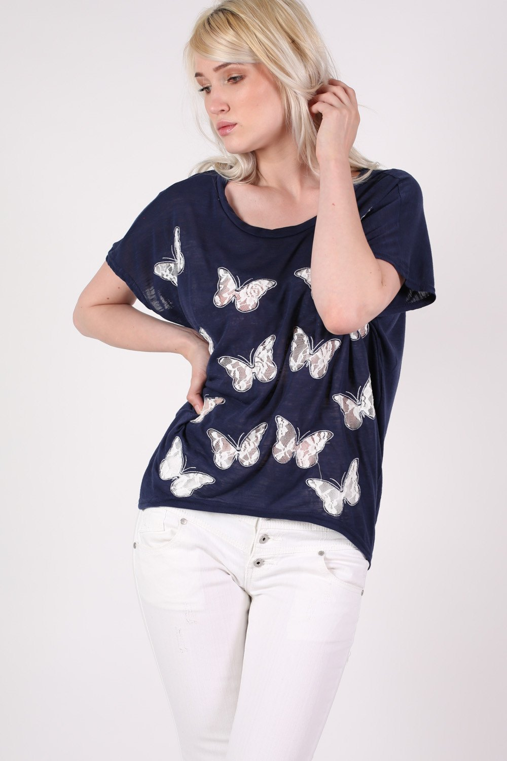 Multi Butterfly Lace Insert Oversized Top in Navy Blue MODEL FRONT