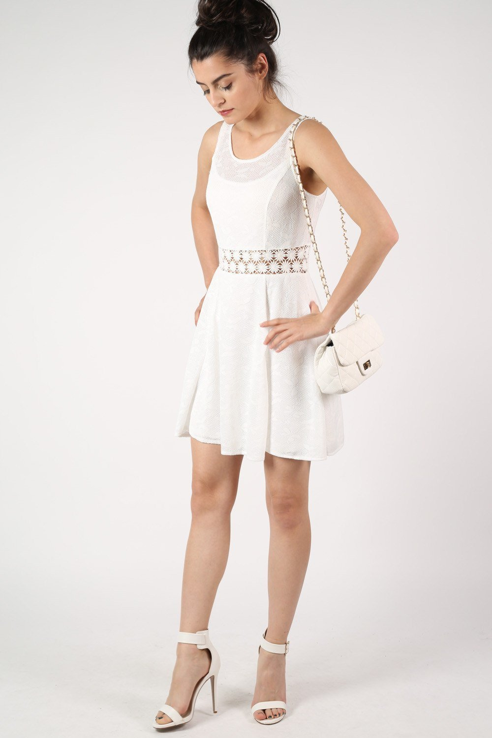 Sleeveless Butterfly Crochet Trim Waistband Skater Dress in White 0