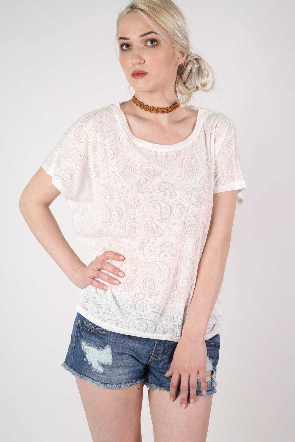 Burnout Paisley Print Oversized Top in White 0