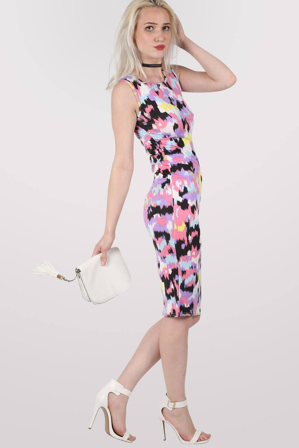 Connie Abstract Print Sleeveless Midi Dress MODEL SIDE