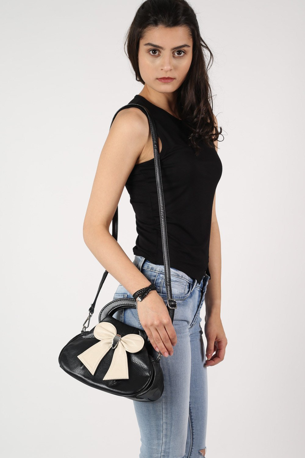 Bow Detail Mini Size Bag With Long Strap in Black 0