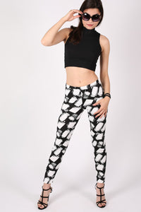 Abstract Check Print Leggings in Black MODEL FRONT