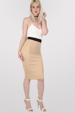 Strappy Contrast Bodycon Dress in Stone 3