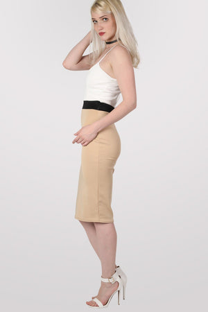 Strappy Contrast Bodycon Dress in Stone 4