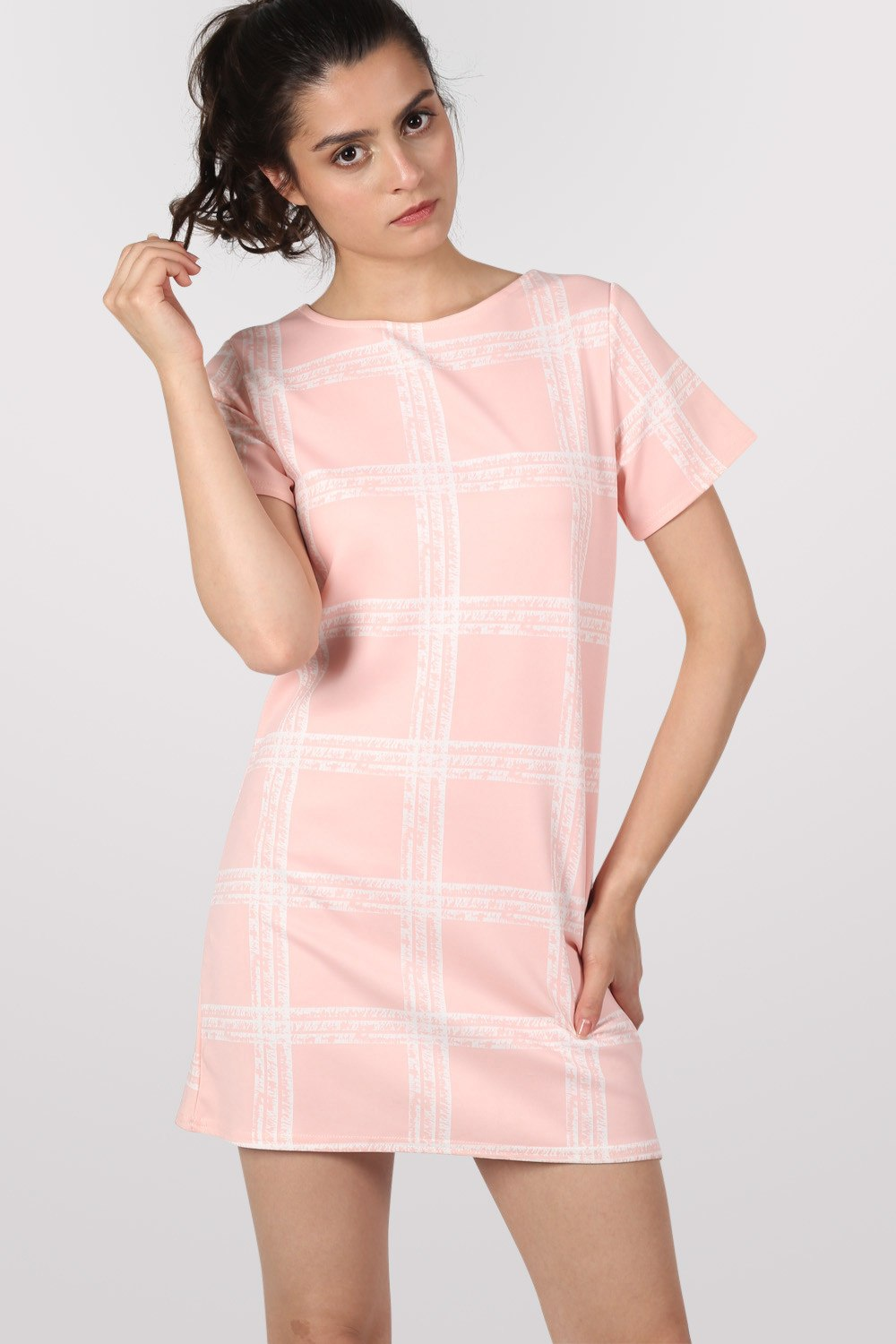 Check Cap Sleeve Shift Dress in Pale Pink MODEL FRONT