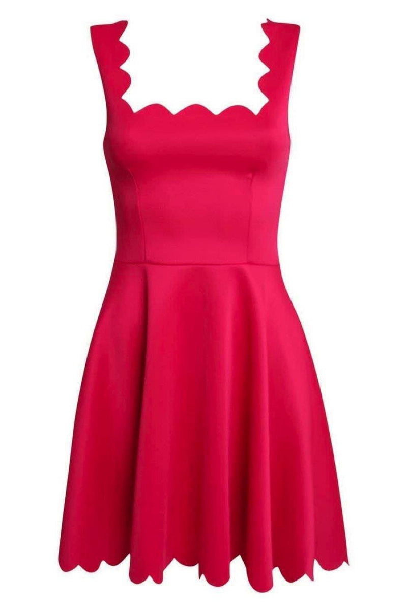 Scallop Edge Skater Dress in Cerise Pink 2