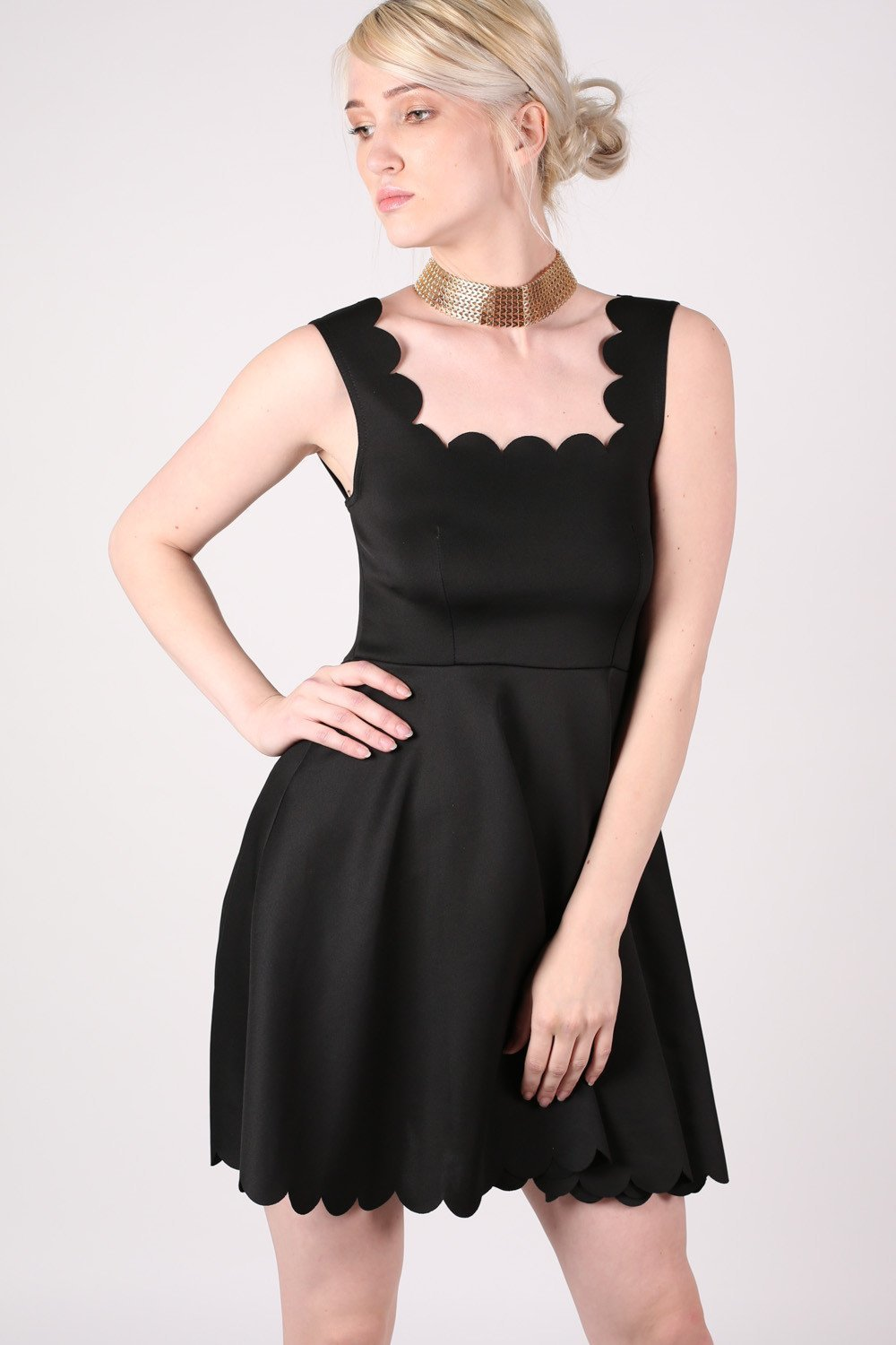 Scallop Edge Skater Dress in Black 0