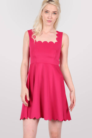 Scallop Edge Skater Dress in Cerise Pink 1