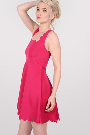 Scallop Edge Skater Dress in Cerise Pink 3