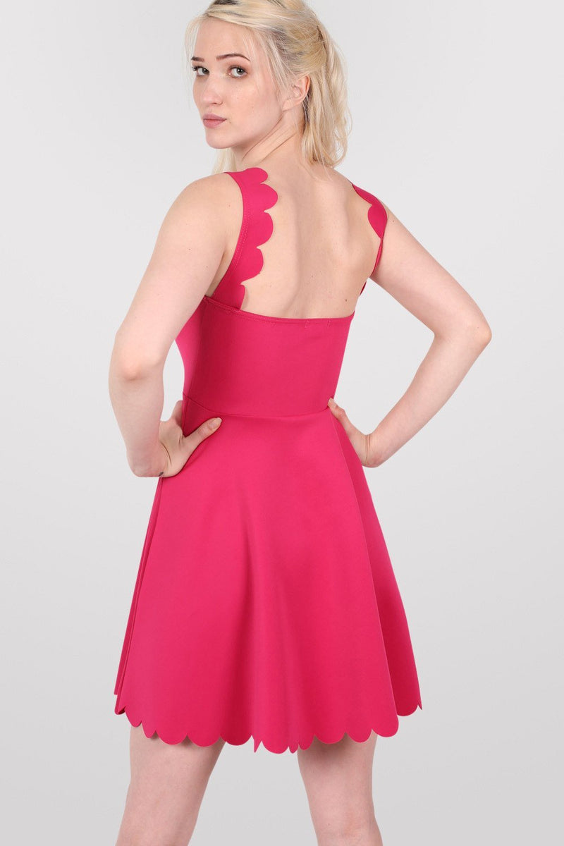 Scallop Edge Skater Dress in Cerise Pink 4
