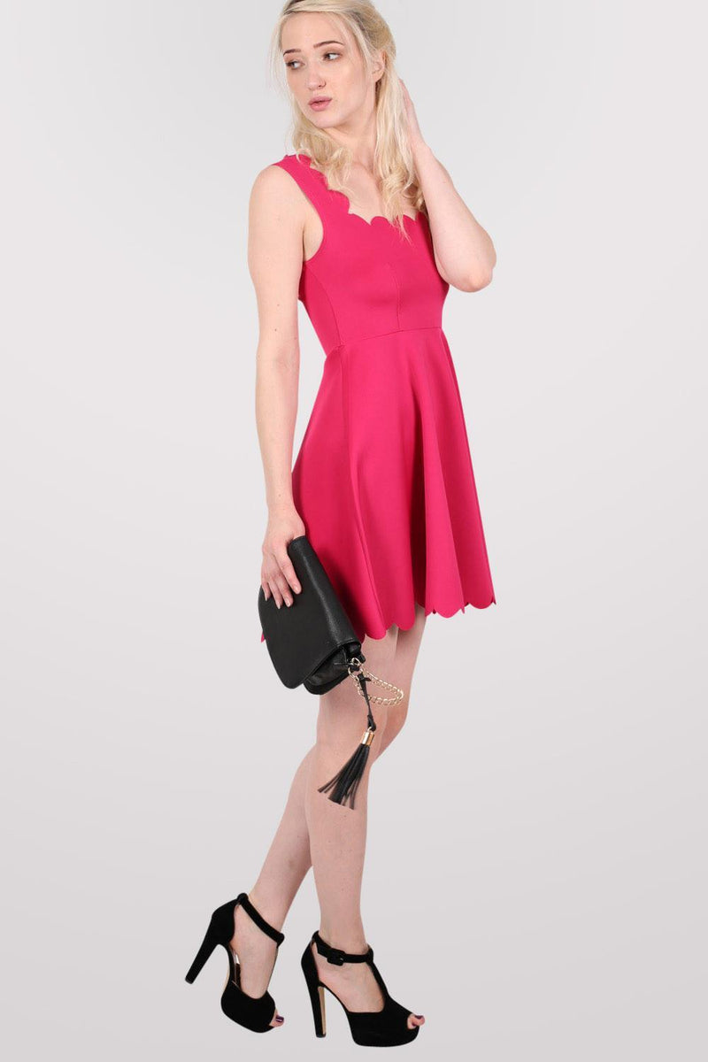 Scallop Edge Skater Dress in Cerise Pink 5