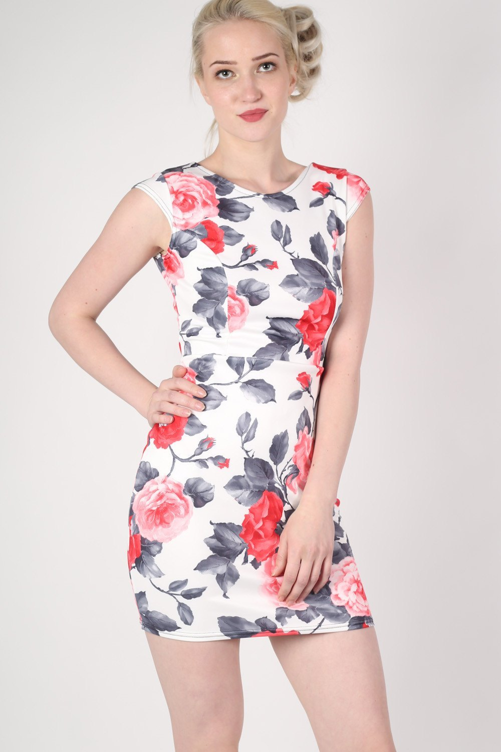 Floral Bow Cut Out Detail Back Bodycon Dress in White MODEL FRONT