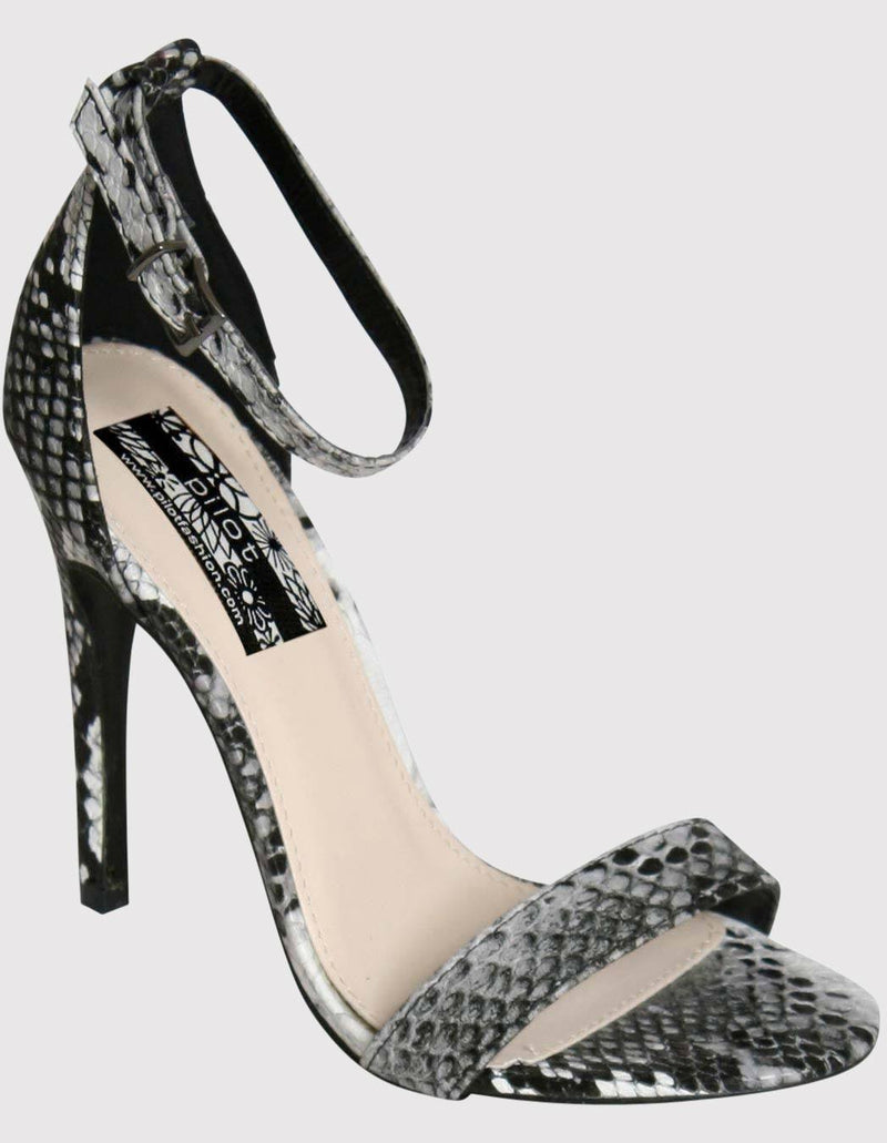Barely There Strappy High Heel Snake Print Sandals in Grey FRONT