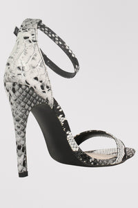 Shona Barely There Strappy High Heel Snake Print Sandals in Grey BACK