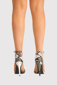 Shona Barely There Strappy High Heel Snake Print Sandals in Grey MODEL BACK