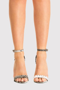 Shona Barely There Strappy High Heel Snake Print Sandals in Grey MODEL FRONT