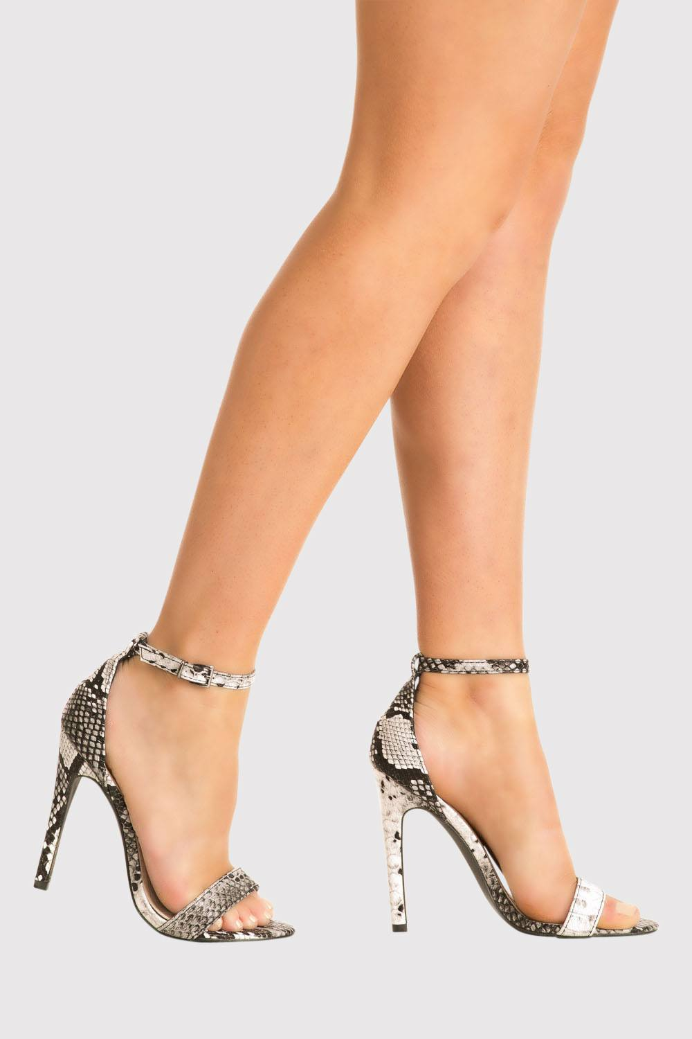 Shona Barely There Strappy High Heel Snake Print Sandals in Grey MODEL SIDE