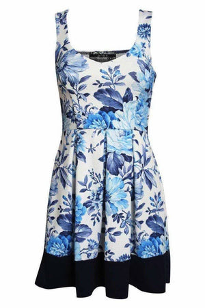 Floral Box Pleat Skater Dress in Blue 2