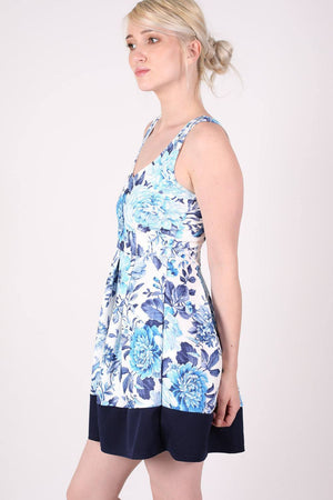 Floral Box Pleat Skater Dress in Blue 1