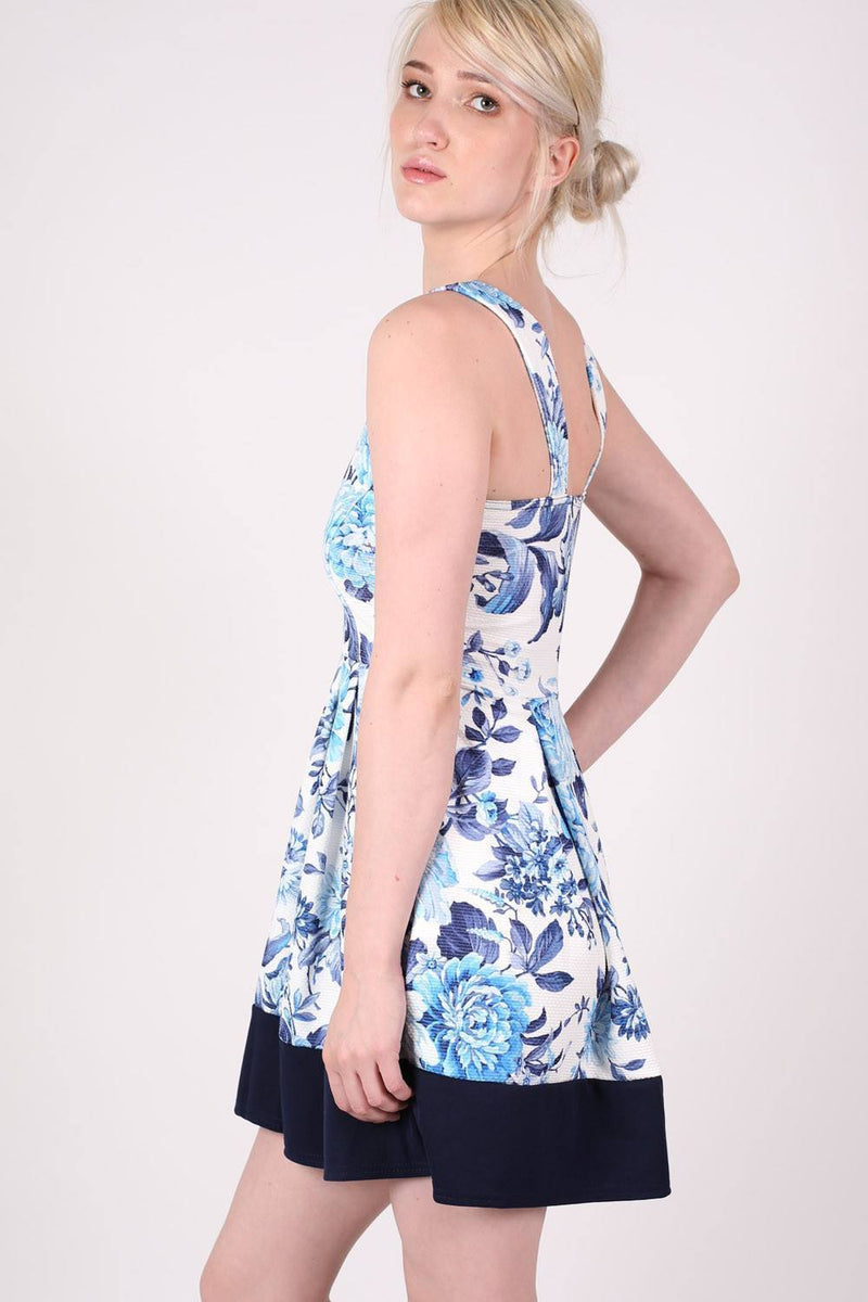 Floral Box Pleat Skater Dress in Blue 3