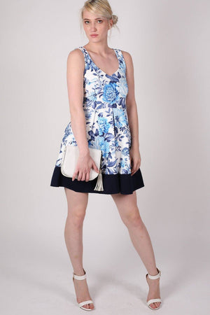 Floral Box Pleat Skater Dress in Blue 5