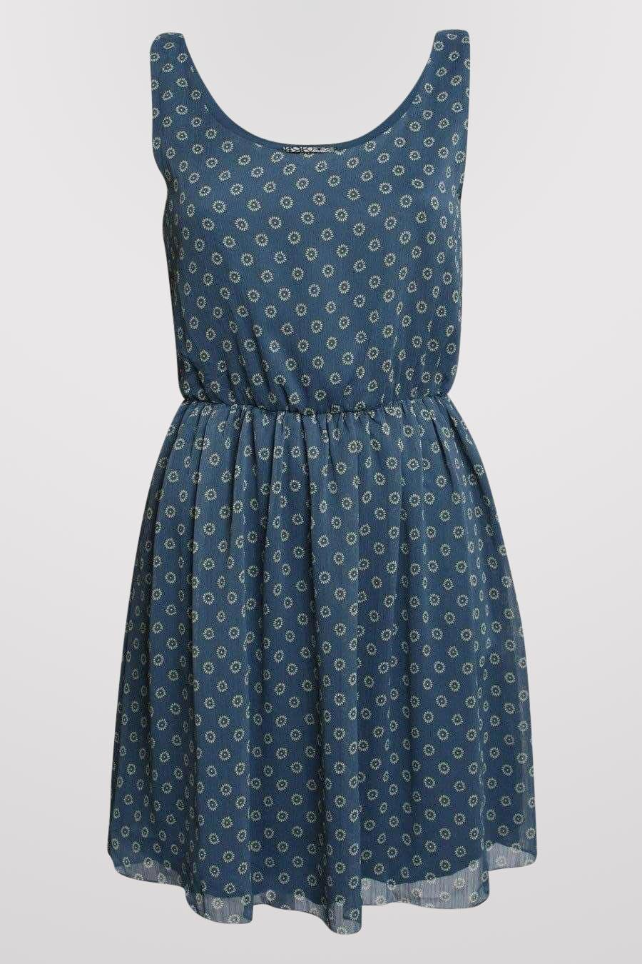 Floral Print Chiffon Skater Dress in Blue FRONT
