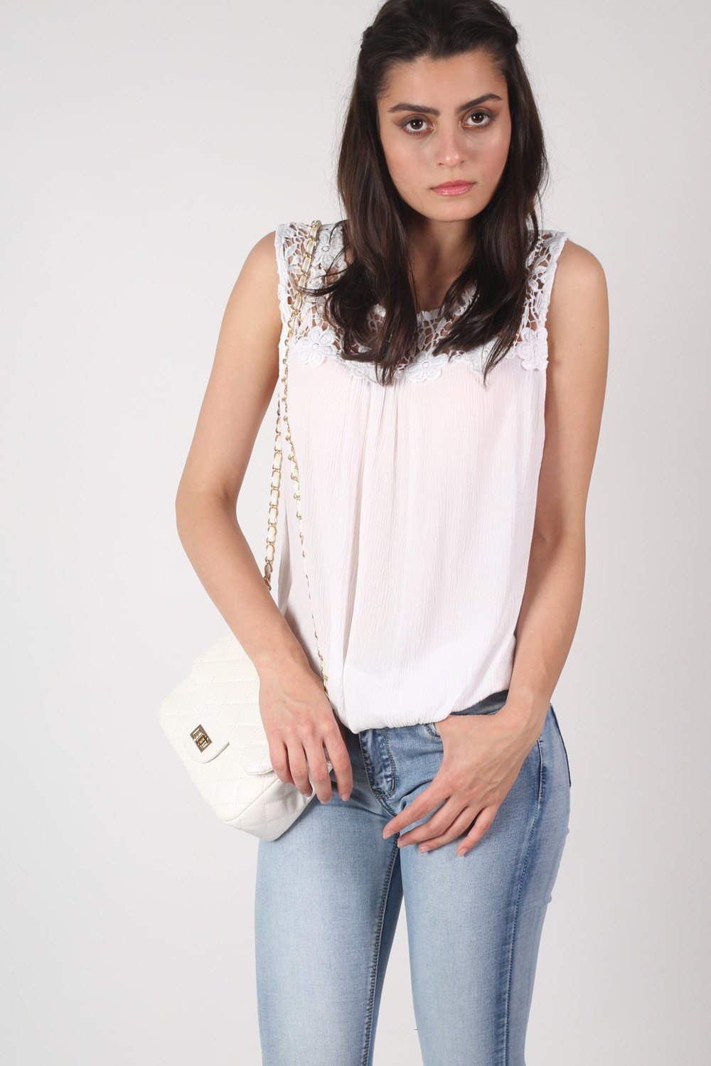 Crochet Trim Sleeveless Top in White MODEL FRONT