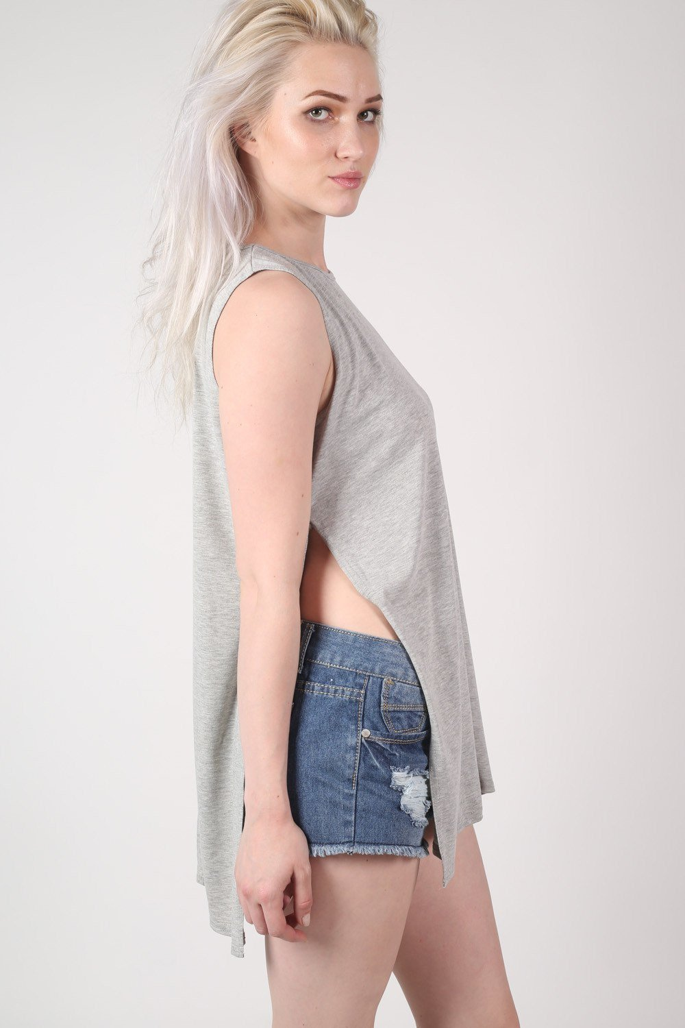 Side Split Sleeveless Top in Grey 0
