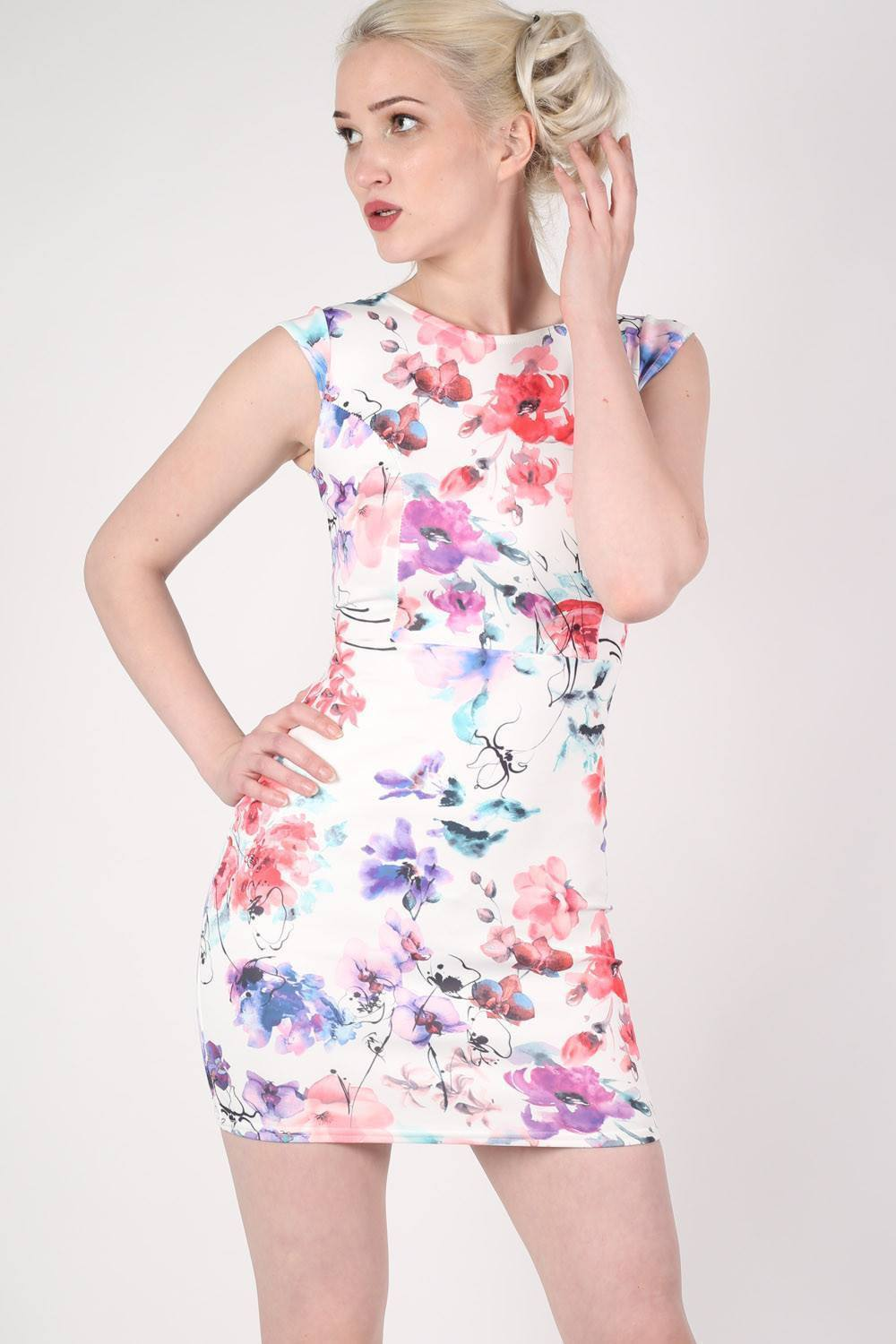 Floral Cut Out Detail Back Bodycon Dress 0