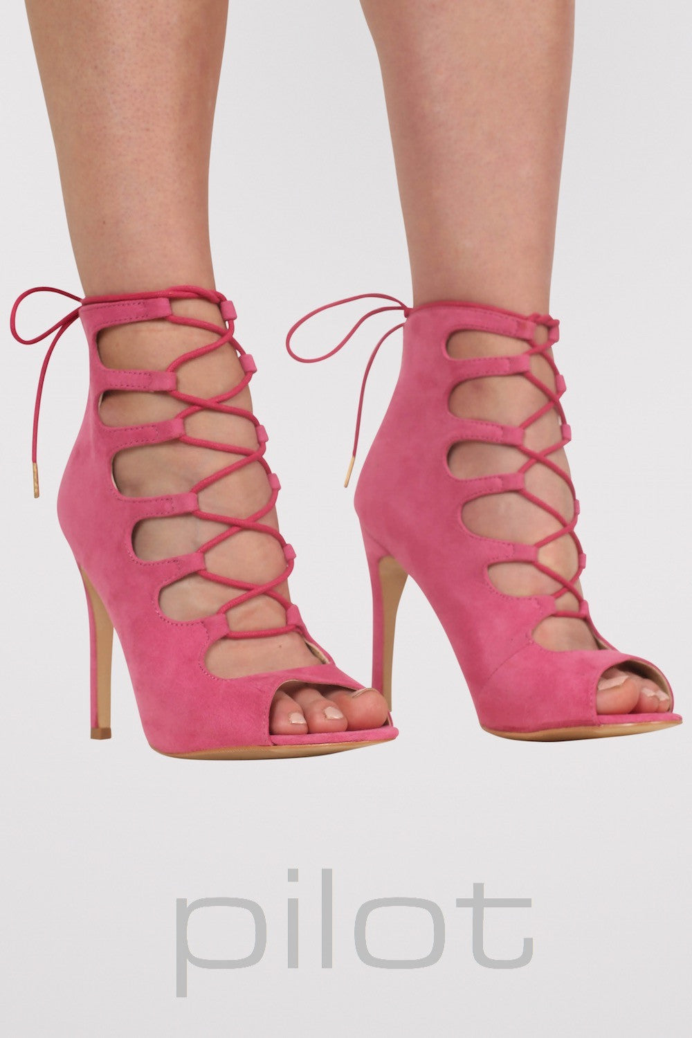 Lace Up High Heel Shoes in Magenta Pink 1