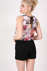 Floral Print Chiffon Playsuit MODEL BACK