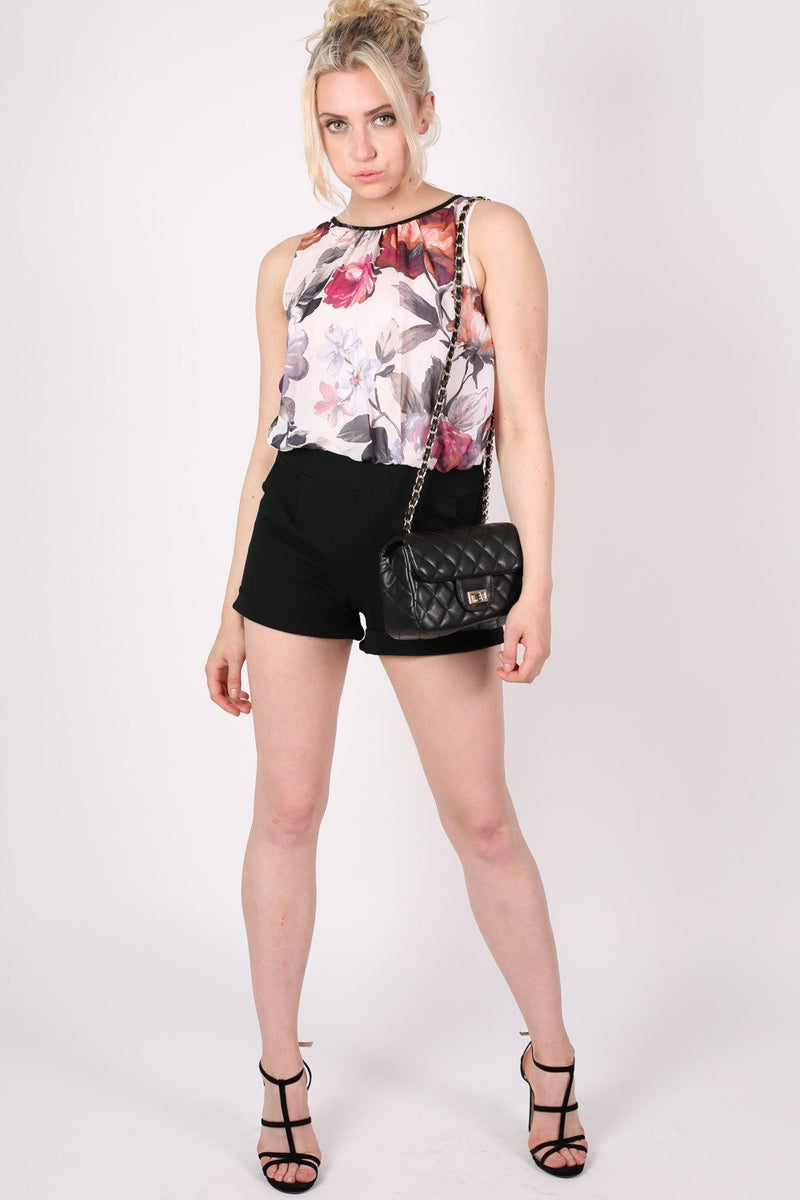 Floral Print Chiffon Playsuit MODEL FRONT 2