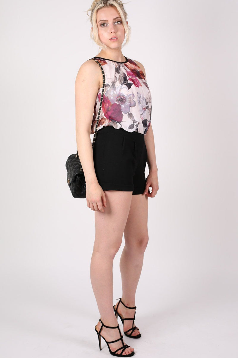 Floral Print Chiffon Playsuit MODEL FRONT 3