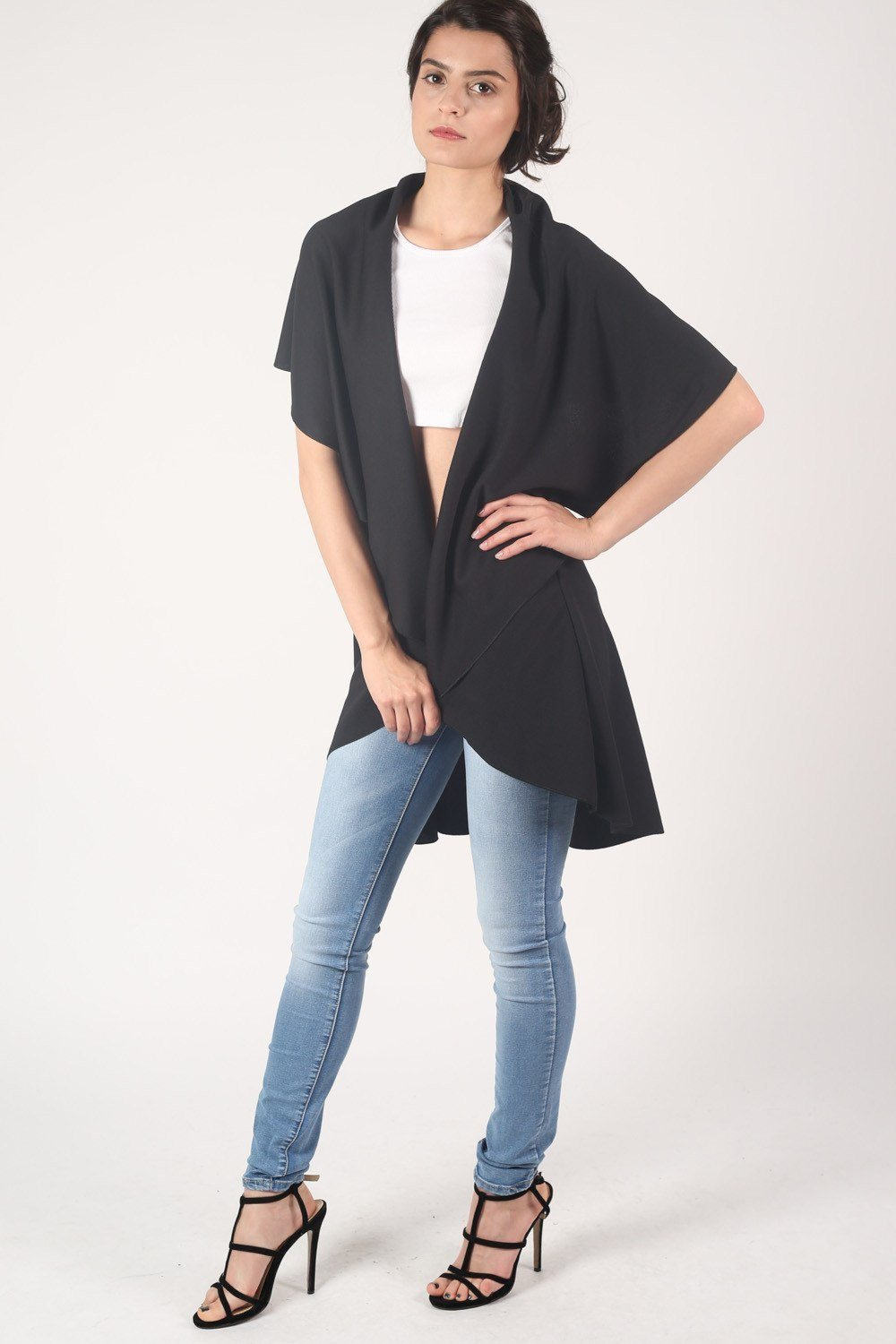 Textured Sleeveless Waterfall Jacket in Black 0