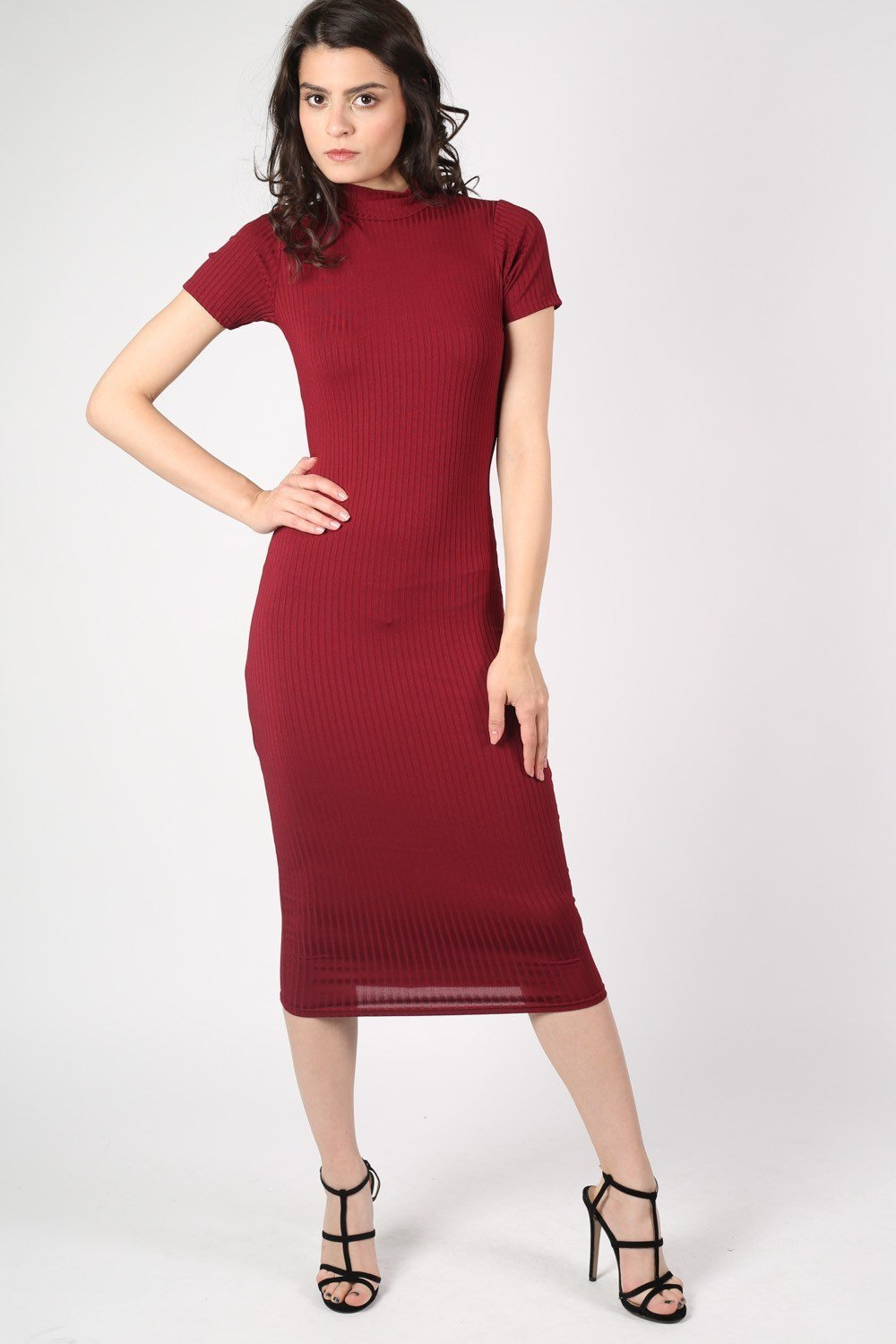 Cap Sleeve High Neck Ribbed Midi Dress in Wine Red 0