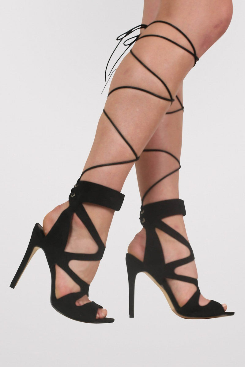 Lace Up Cross Strap High Heel Sandals in Black 1