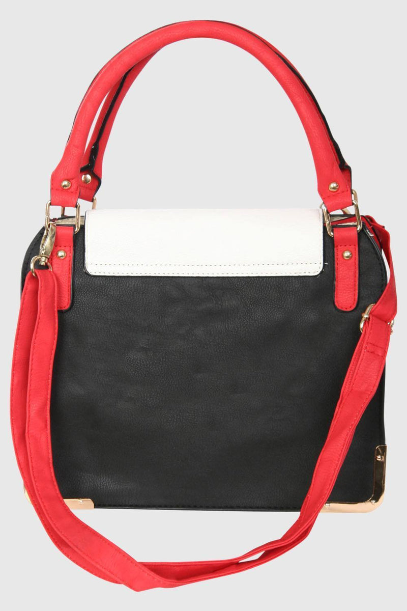 Colour Block Tote Bag in Red 4