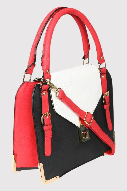 Colour Block Tote Bag in Red 3