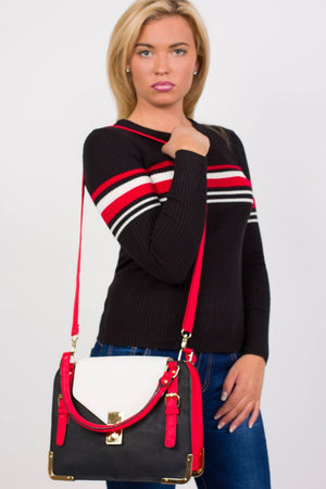 Colour Block Tote Bag in Red 0
