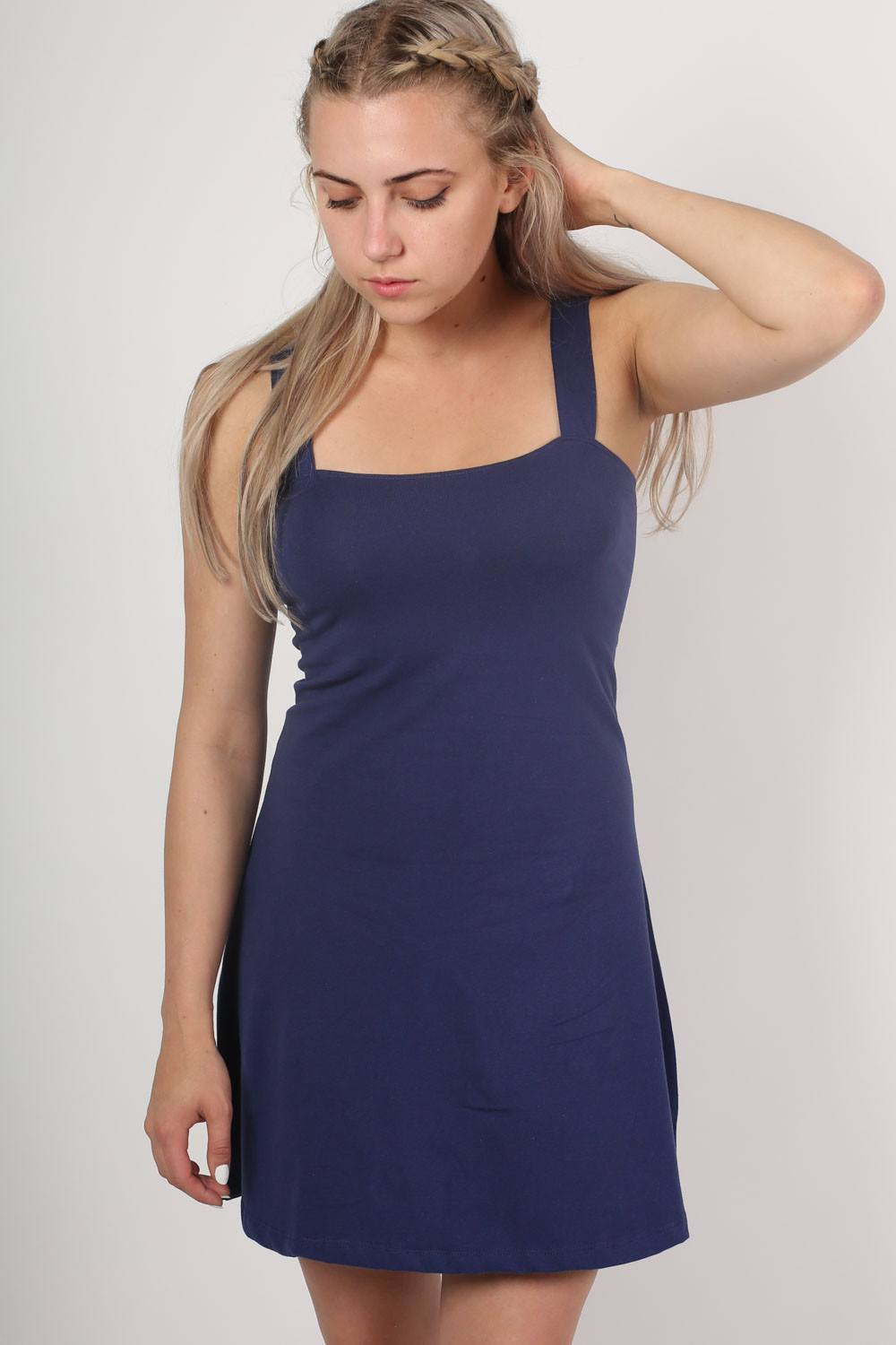 Strappy Skater Dress in Navy Blue 0