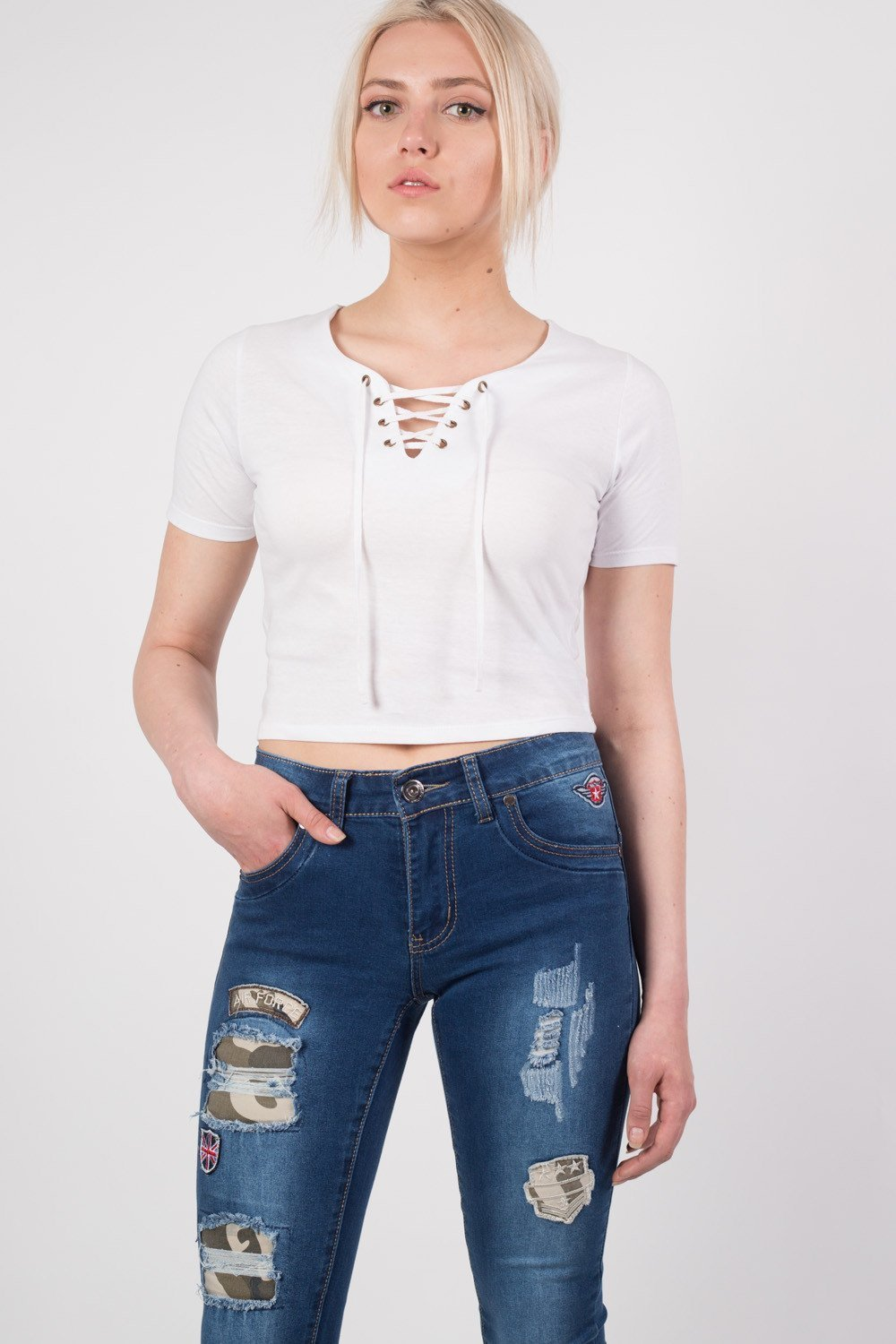 Lace Up Front Crop T-Shirt in White 0