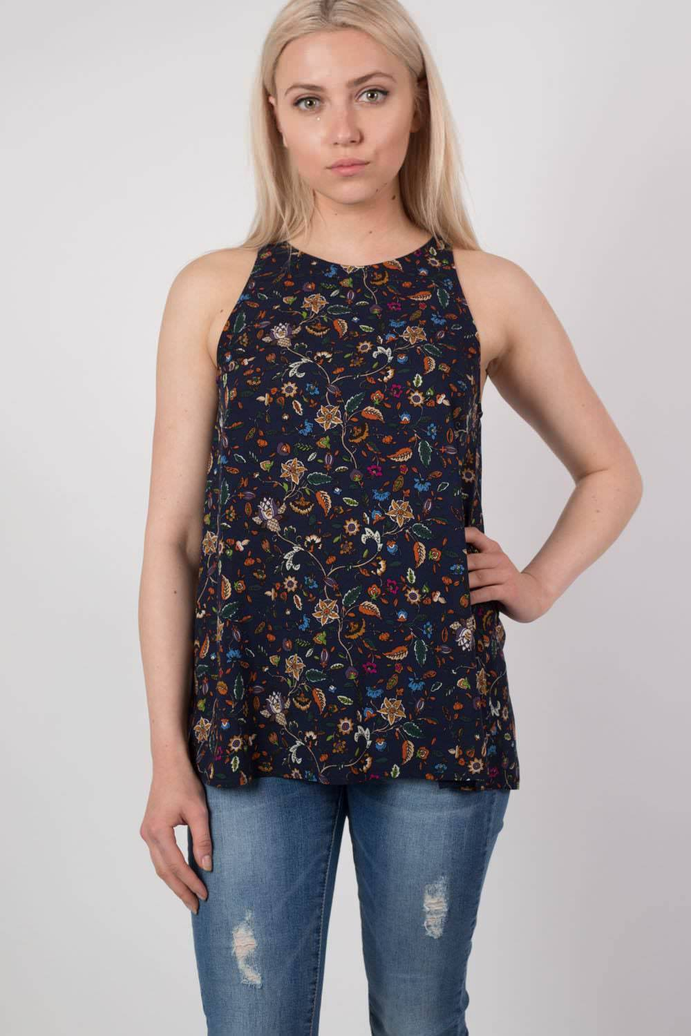 Floral Print Split Back Sleeveless Top in Navy Blue MODEL FRONT