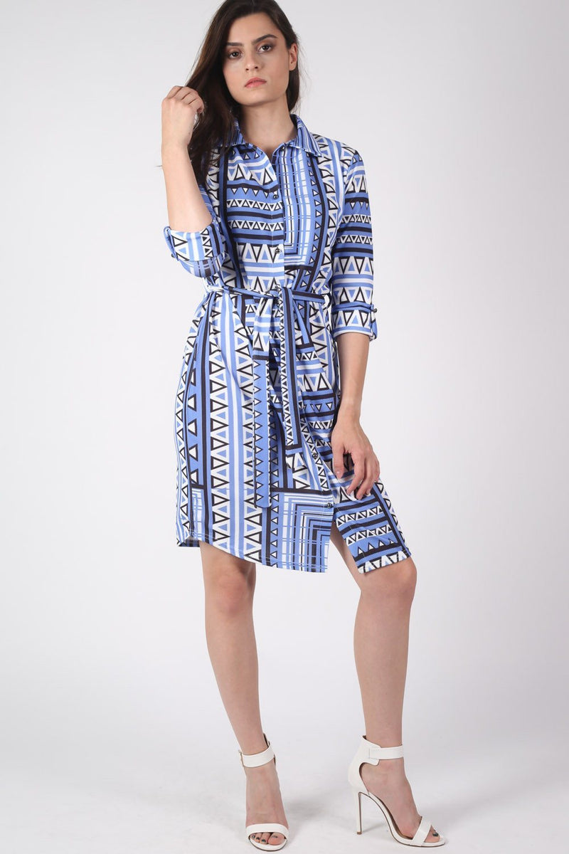 Crepe Geometric Print Belted Shirt Dress in Blue 0