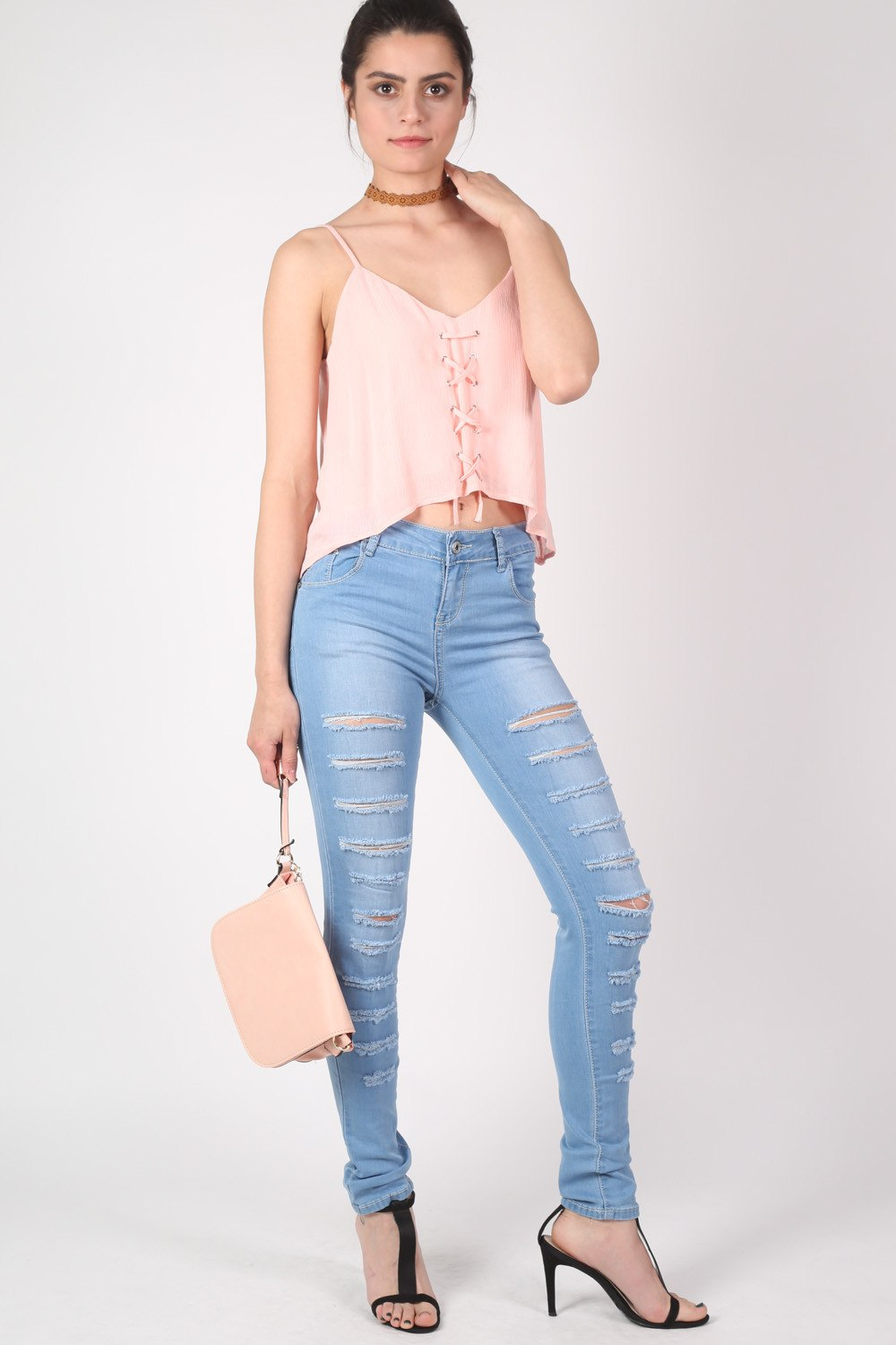 Mid Rise Multi Rip Skinny Jeans in Light Denim MODEL FRONT