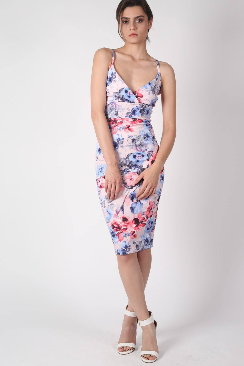 Floral Strappy Bodycon Dress MODEL FRONT