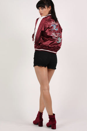 Embroidered Satin Bomber Jacket in Wine Red 4