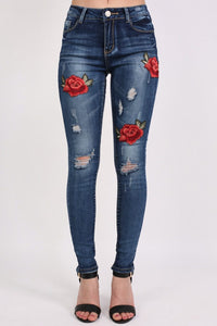 Floral Embroidered Distressed Skinny Jeans in Denim 0