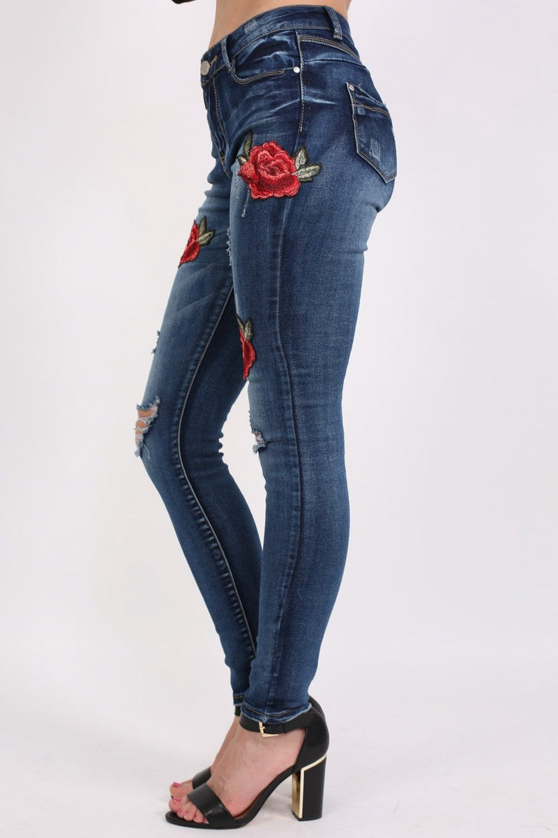 Floral Embroidered Distressed Skinny Jeans in Denim 3